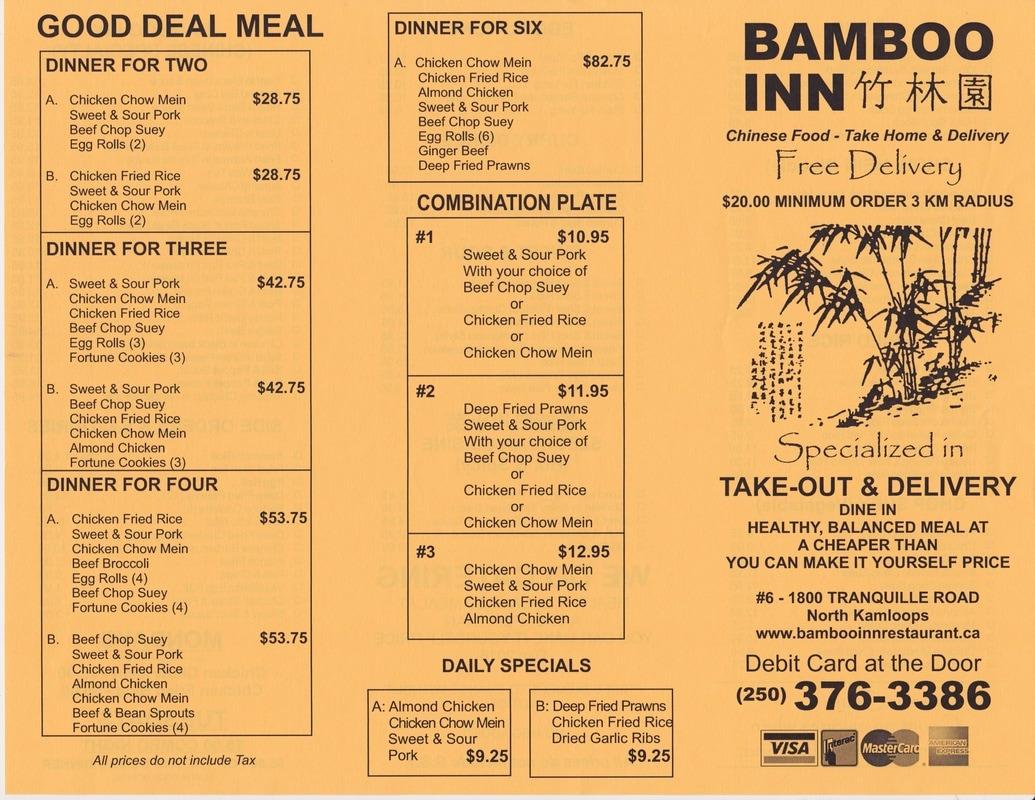 Appetitizer/Entree Menu - Bamboo Inn Restaurant
