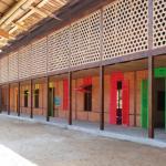 Bambus-Sichtschutz und Bambusdach