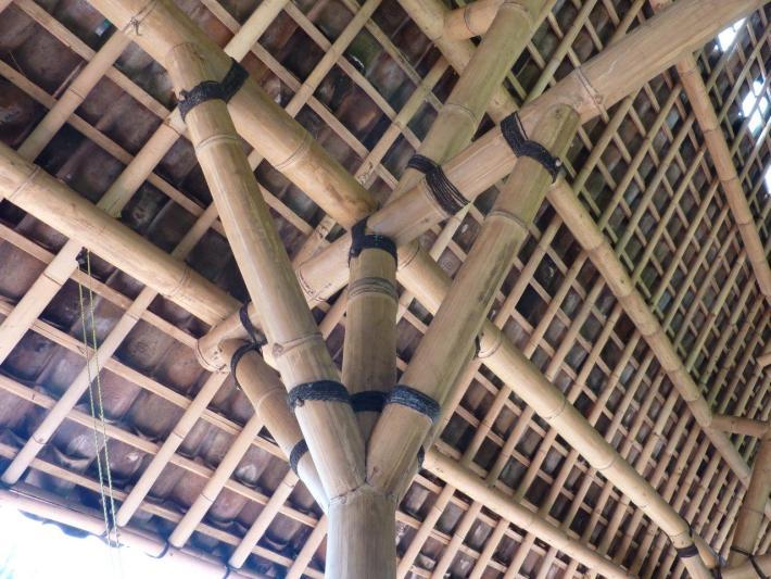 Knotenpunkt Detail Bambusverbindung Fachwerk traditionell Bambusrohr CONBAM Bambushandel