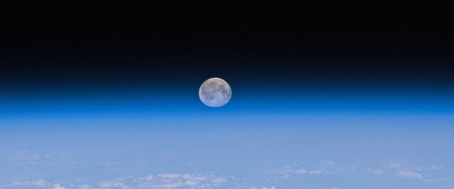 A view of the Moon as seen from Earth orbit.