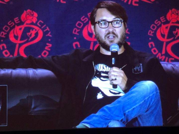 Wil Wheaton speaking at Rose City Comic Con, 2019