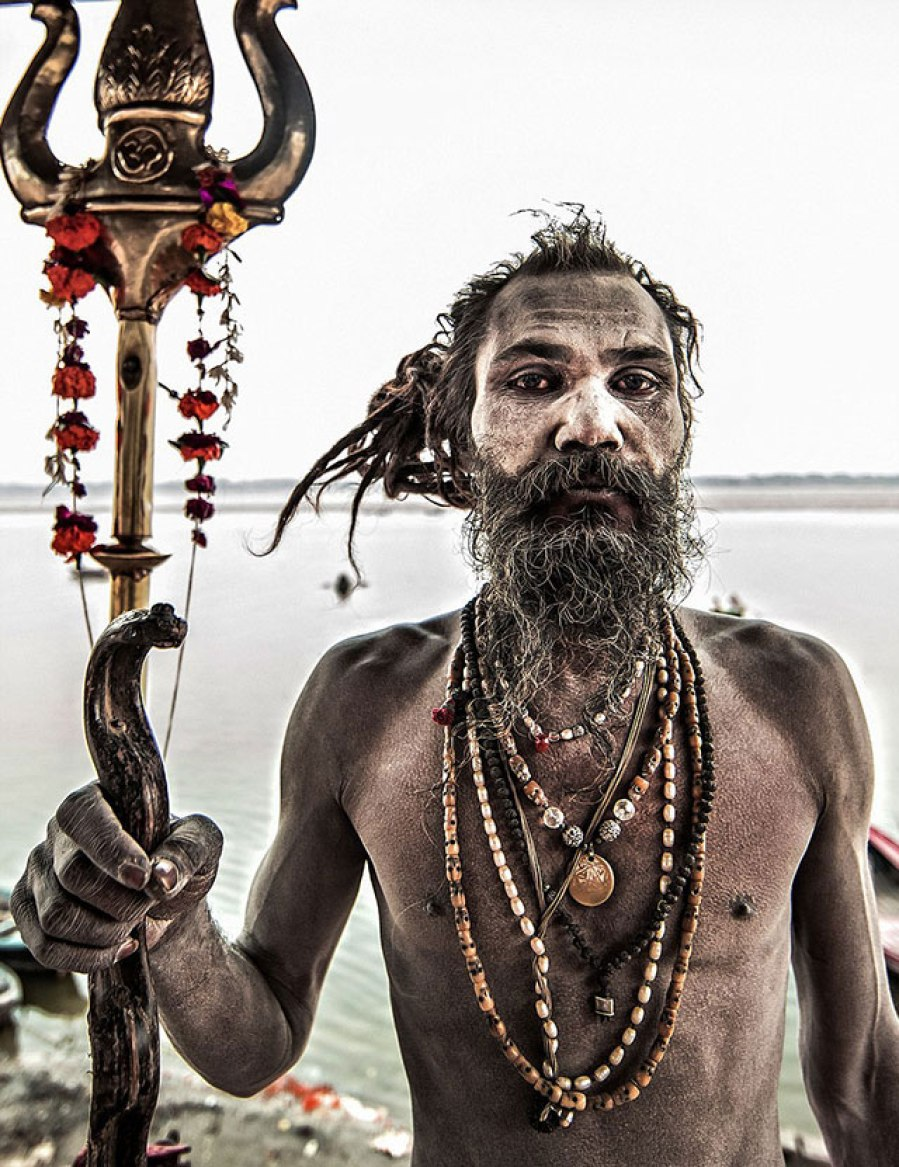 Aghoris wear ornaments of human skull