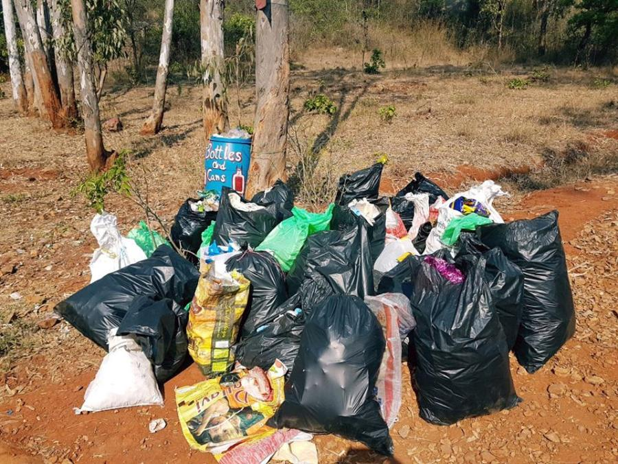 The group collects massive amount of garbage from the forest