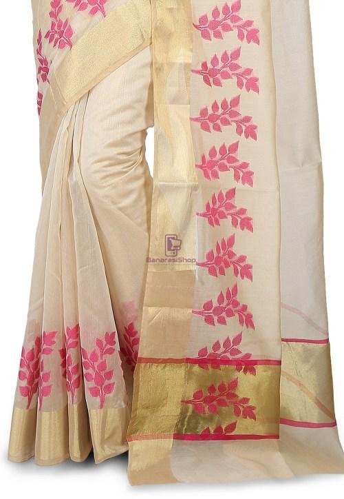 Woven Banarasi Chanderi Silk Saree in Light Beige 4