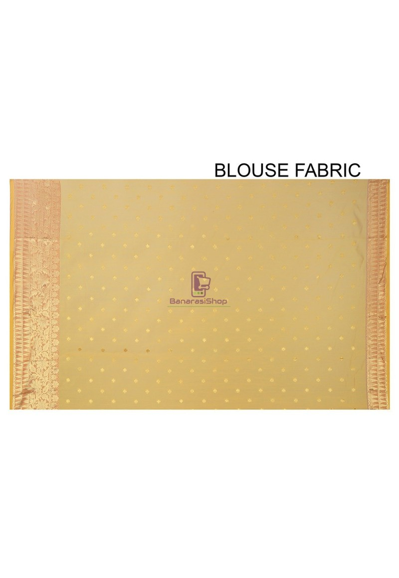 Woven Banarasi Chanderi Silk Saree in Yellow 2