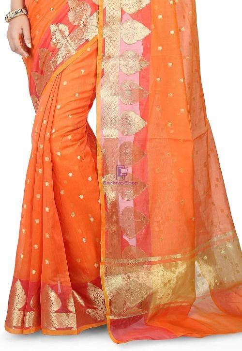 Woven Banarasi Chanderi Silk Saree in Orange 4