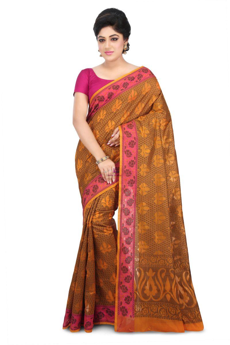 Woven Banarasi Cotton Silk Saree in Rust 1