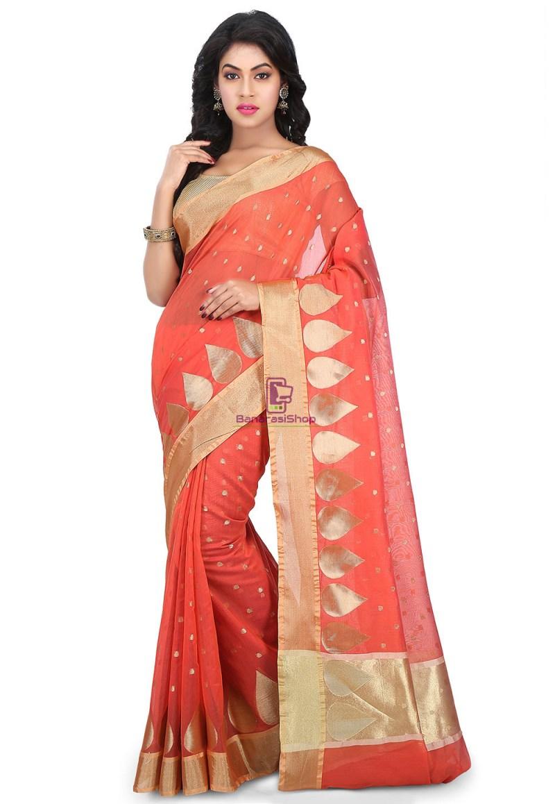 Woven Banarasi Chanderi Silk Saree in Coral Red 1