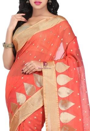 Woven Banarasi Chanderi Silk Saree in Coral Red 6