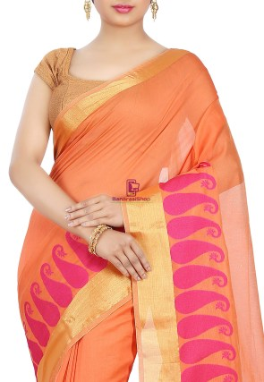 Woven Banarasi Chanderi Cotton Saree in Orange 6