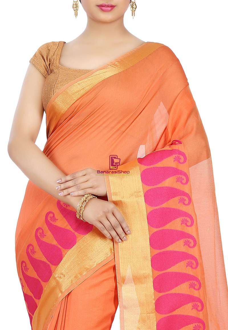 Woven Banarasi Chanderi Cotton Saree in Orange 2