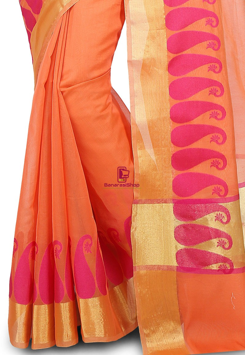 Woven Banarasi Chanderi Cotton Saree in Orange 3
