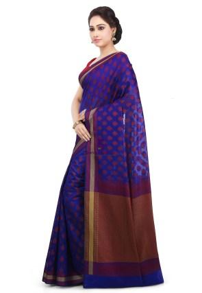 Woven Banarasi Art Silk Saree in Royal Blue 9