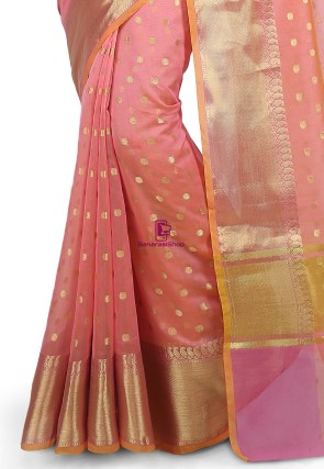 Woven Banarasi Cotton Silk Saree in Peach 6
