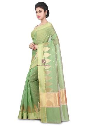 Woven Banarasi Chanderi Silk Saree in Pastel Green 9
