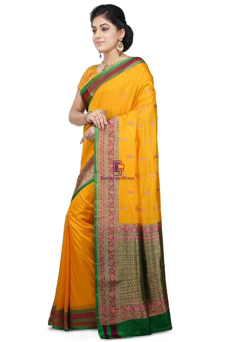 Banarasi Pure Katan Silk Handloom Saree in Yellow 4