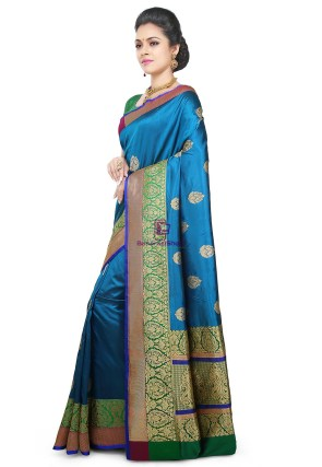 Banarasi Pure Katan Silk Handloom Saree in Teal Blue 9