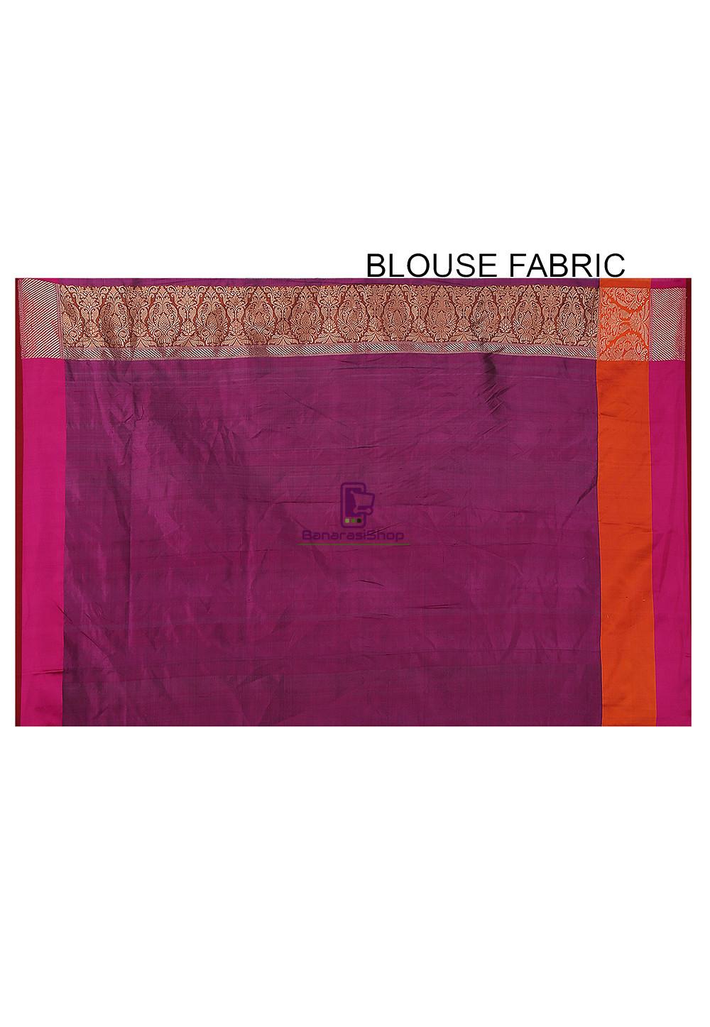 cd7245b7b7 Banarasi Pure Katan Silk Handloom Saree In Maroon | BanarasiShop