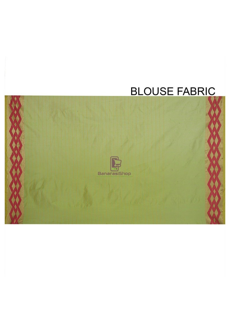 Woven Banarasi Cotton Silk Saree in Light Green 3