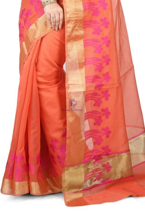 Woven Banarasi Chanderi Silk Saree in Peach 4