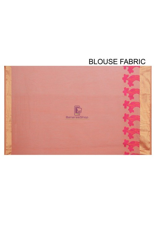 Woven Banarasi Chanderi Silk Saree in Peach 5