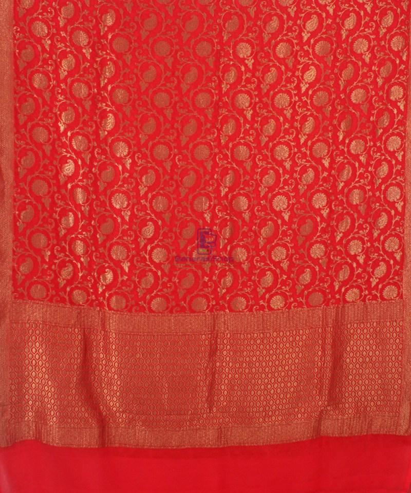 Pure Banarasi Handloom Khaddi Georgette Silk Saree in Red 2