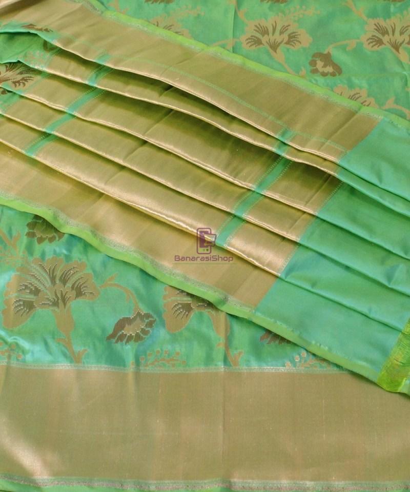Pure Banarasi Uppada Handloom Silk Saree in Mint Green 1