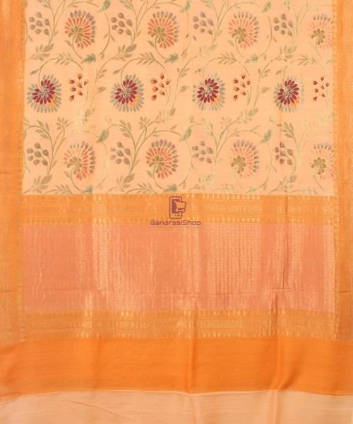 Pure Banarasi Muga Silk Handloom Saree in Cream Golden yellow 5