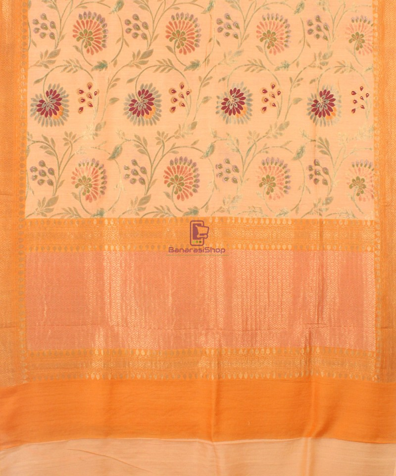 Pure Banarasi Muga Silk Handloom Saree in Cream Golden yellow 2