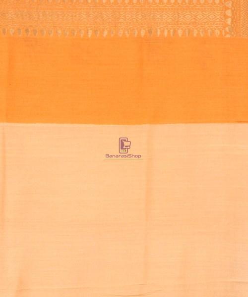 Pure Banarasi Muga Silk Handloom Saree in Cream Golden yellow 7