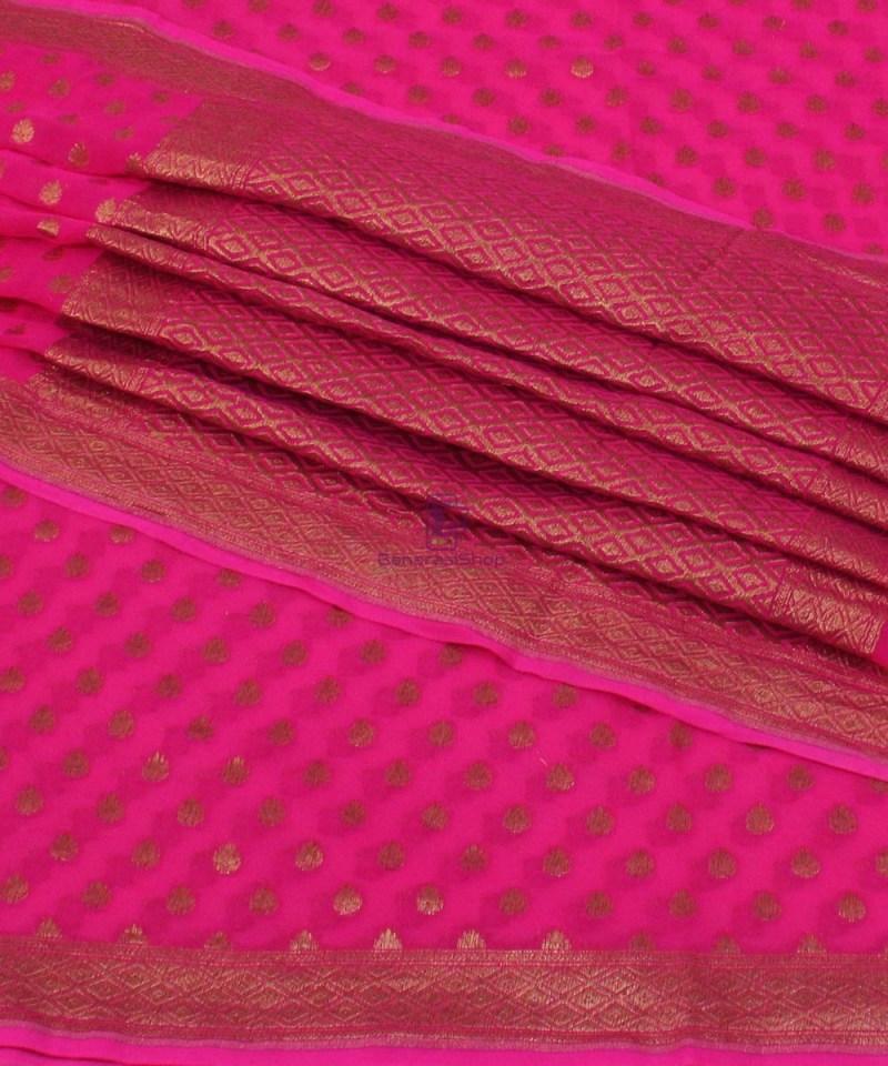 Pure Banarasi Handloom Khaddi Georgette Silk Saree in Pink 1