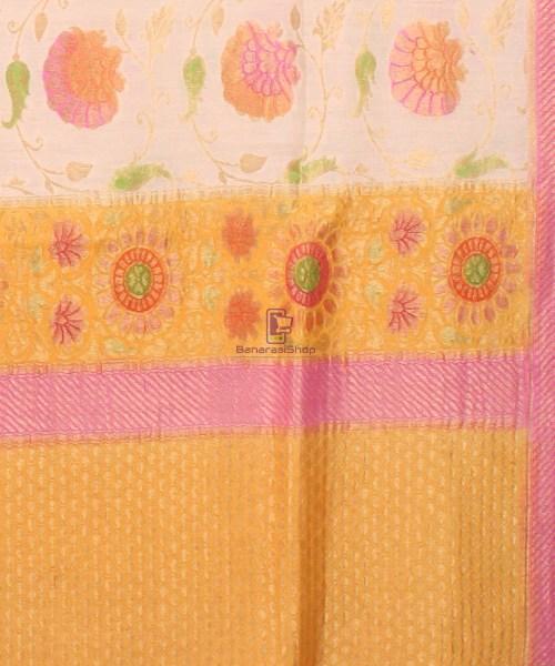 Pure Banarasi Muga Silk Handpainted Jaal Saree in Beige 6