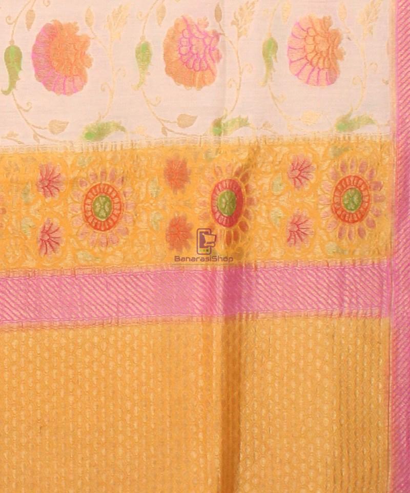 Pure Banarasi Muga Silk Handpainted Jaal Saree in Beige 3