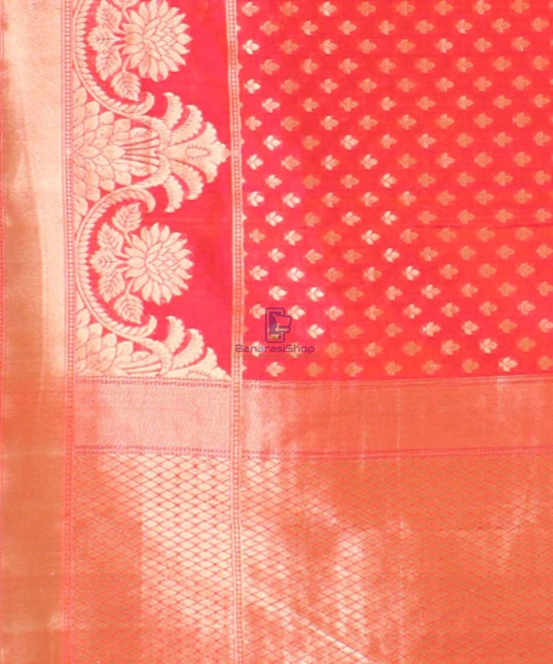 Pure Banarasi Uppada Handloom Silk Saree in Bright Red 3