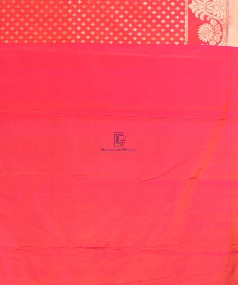 Pure Banarasi Uppada Handloom Silk Saree in Bright Red 4