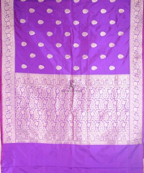 Handwoven Banarasi Katan Pure Silk Saree in Vilot 4