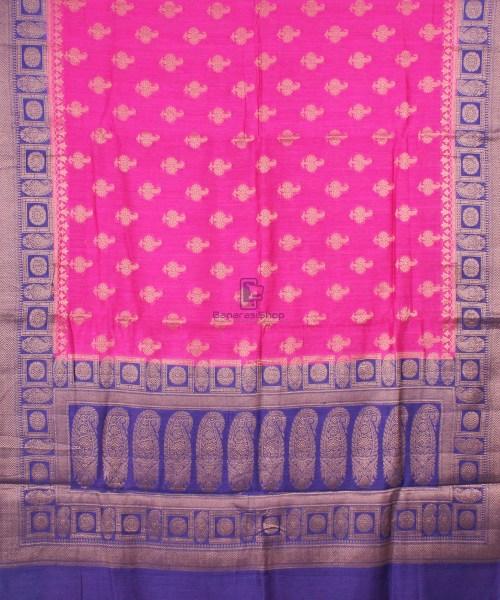 Pure Banarasi Muga Silk Saree in Pink and Violet 5