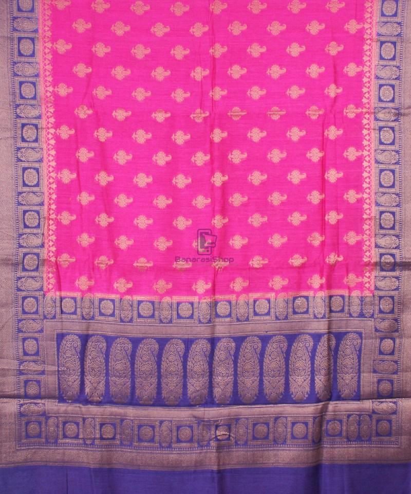 Pure Banarasi Muga Silk Saree in Pink and Violet 2