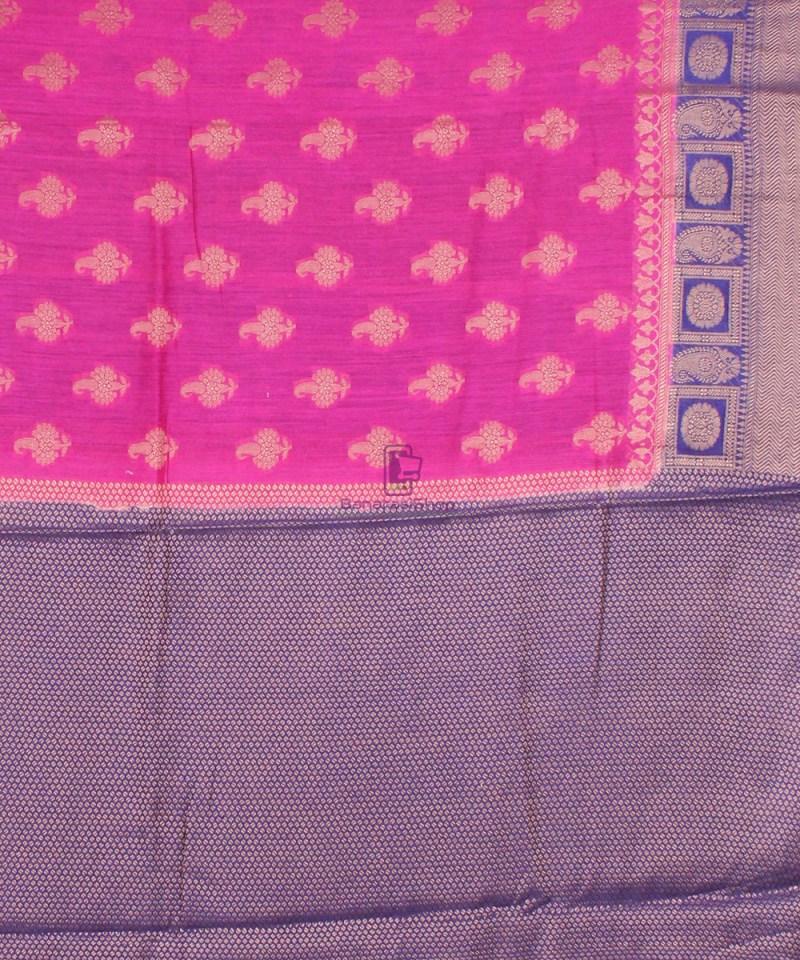 Pure Banarasi Muga Silk Saree in Pink and Violet 4