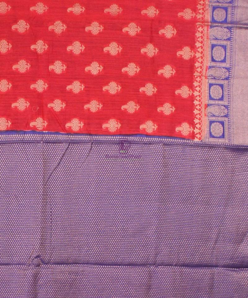 Pure Banarasi Muga Silk Saree in Red Orange and Violet 4