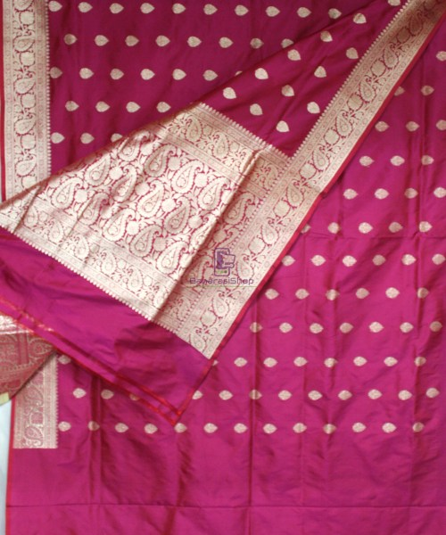 Handwoven Banarasi Katan Pure Silk Saree in Purple Pink 5