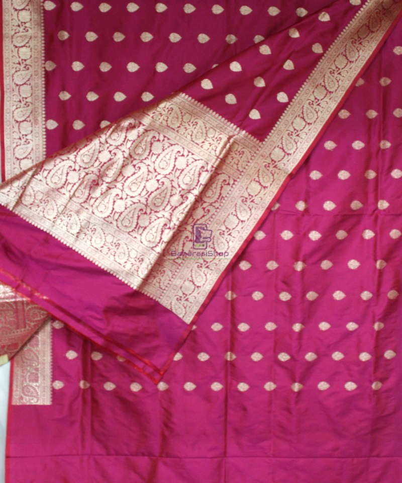 Handwoven Banarasi Katan Pure Silk Saree in Purple Pink 3
