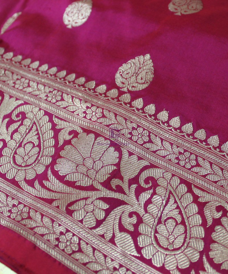 Handwoven Banarasi Katan Pure Silk Saree in Purple Pink 1