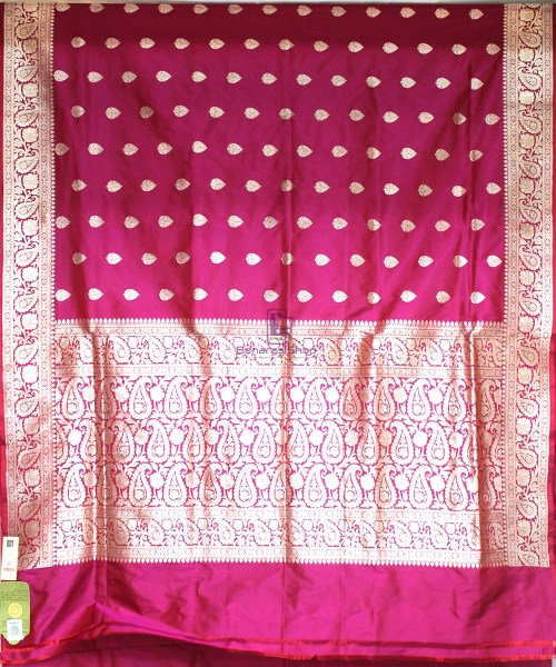 Handwoven Banarasi Katan Pure Silk Saree in Purple Pink 4
