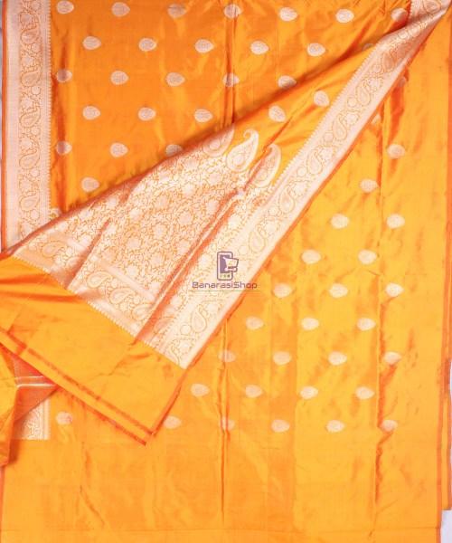 Handwoven Banarasi Katan Pure Silk Saree in Yellow 5