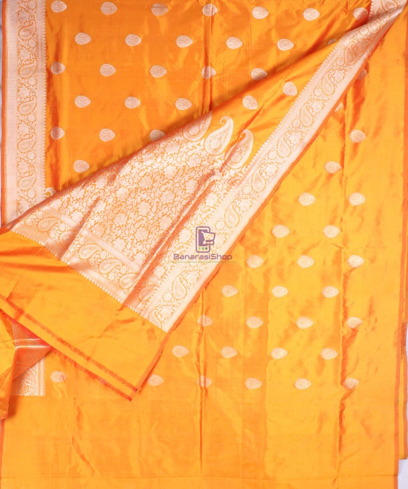Handwoven Banarasi Katan Pure Silk Saree in Yellow 3