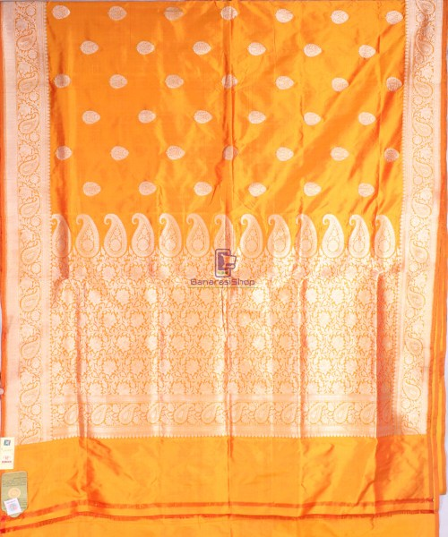 Handwoven Banarasi Katan Pure Silk Saree in Yellow 4