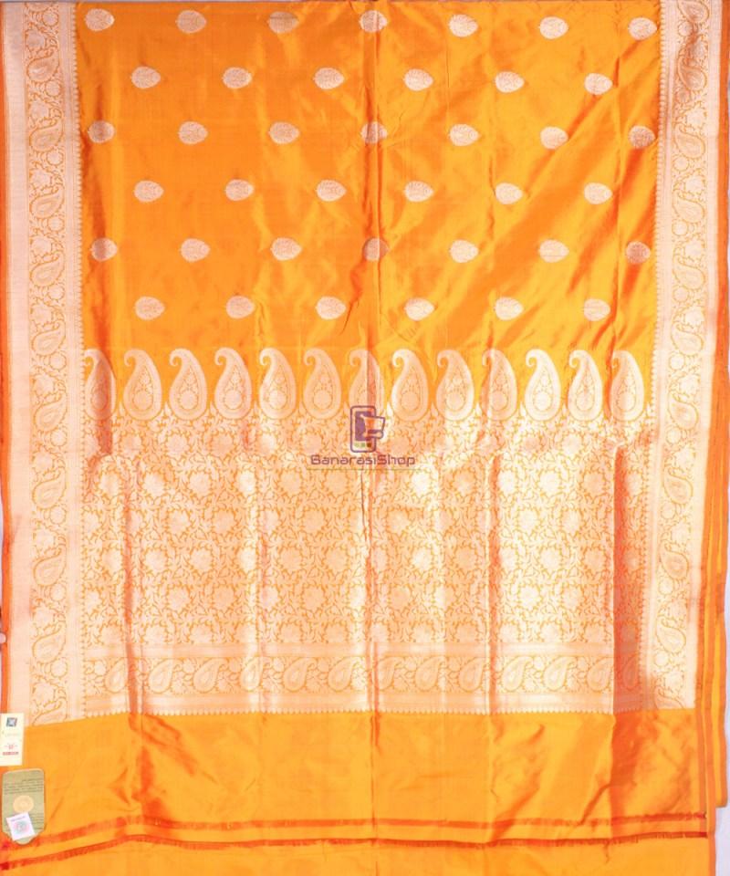Handwoven Banarasi Katan Pure Silk Saree in Yellow 2