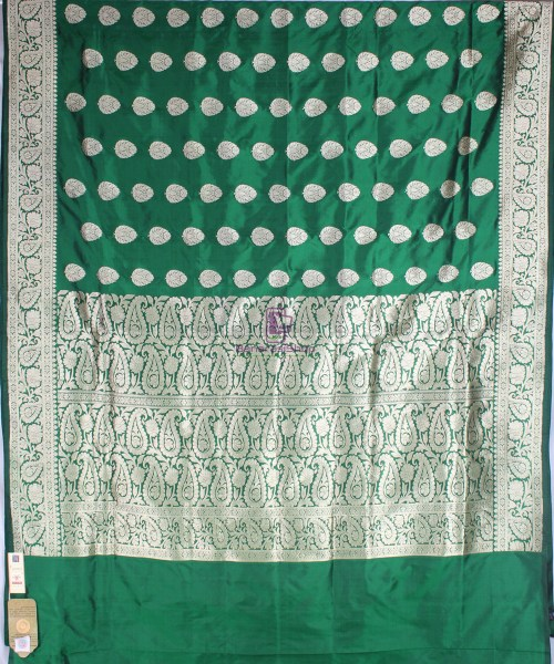 Handwoven Banarasi Katan Pure Silk Saree in Green 4