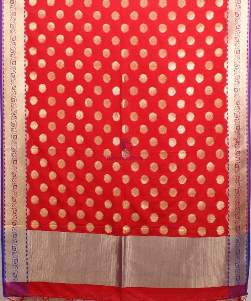 Woven Banarasi Art Silk Dupatta in Red 2